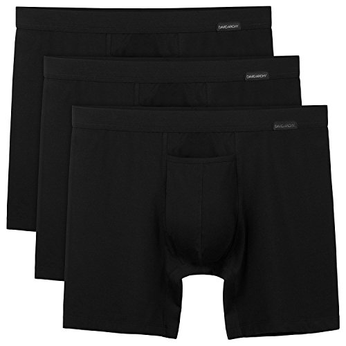 David Archy Mens Premium Cotton Underwear Ultra Soft Boxer Briefs with Fly in 3/4 Pack