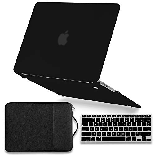 MacBook Air 13 Inch A1369/A1466 Case (2008-2017 Release) Bundle, GMYLE Hard Plastic Matte Case, Soft Protective Canvas Carrying Sleeve Bag with Handle & Pockets and Keyboard Cover - Black Set