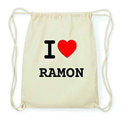 JOllify RAMON Hipster Turnbeutel Tasche Rucksack aus Baumwolle - Farbe: natur Design: I love- Ich liebe