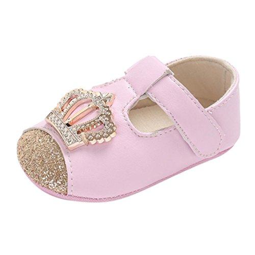 - Princess Shoes, Kimanli Infant Newborn Baby Boys Girls Crown Crib Prewalker Soft Anti-slip (0-6 month, Pink)