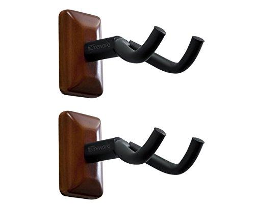 Gator Frameworks Wall Mounted Guitar Hanger with Mahogany Mounting Plate (Gtr Hanger)