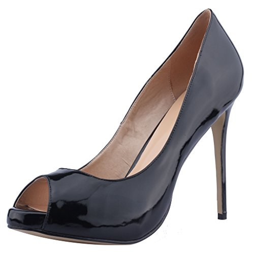 Calaier Kvinna Caquite Peep Toe 12cm Blocket Häl Halka På Sandaler Skor Svarta