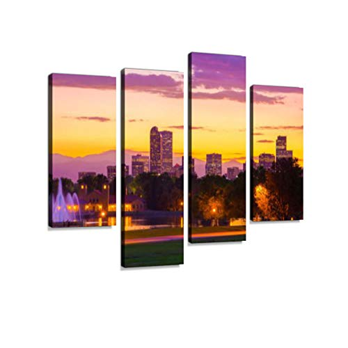 Denver Skyline at Sunset with Fountains, Lake, Mountains, and Geese Canvas Wall Art Hanging Paintings Modern Artwork Abstract Picture Prints Home Decoration Gift Unique Designed Framed 4 Panel
