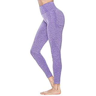 Women's High Waist Workout Pants Gym Seamless Leggings Tummy Control Butt Lift Yoga Pants (Purple, Medium)