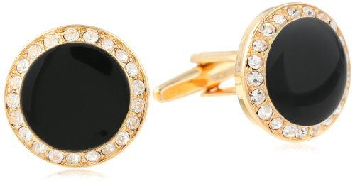 Crystal Cufflinks Round (Stacy Adams Men's Round Cuff Link With Black Enamel and Crystals, Gold/Crystal, One Size)