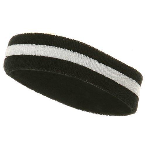 Striped Terry Headband - Striped Cotton Terry Cloth Moisture Wicking Head Band (Black/White)