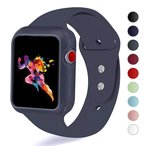 KEASDN Compatible with Apple Watch Band with Case 38mm 42mm, Silicone Sport iWatch Strap Band with Shock-Proof Case Compatible with Apple Watch Series 3/2/1