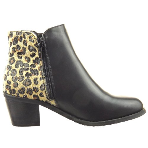 Sopily - Scarpe da Moda Stivaletti - Scarponcini cavalier alla caviglia donna pelle di serpente zip Tacco a blocco tacco alto 6 CM - Nero