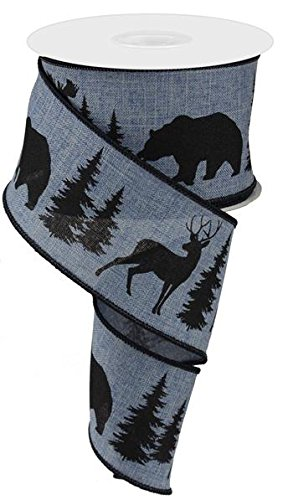 Moose, Bear, and Deer Wired Edge Ribbon, 2.5