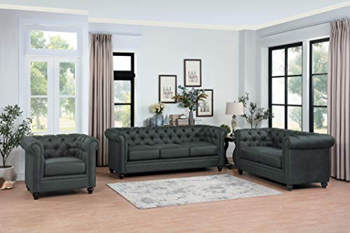Homelegance Belmont 3-Piece Microfiber Sofa Set, Gray ()
