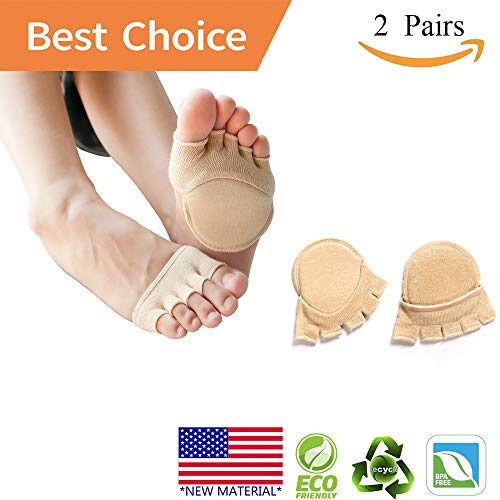Toe Socks, Cotton Non-Slip Women's Toe Toppers Socks Toe Separating Socks No-Show Half Socks Barre Pilates Yoga Half Palm Socks(2 Pairs) by Pnrskter (Image #7)'