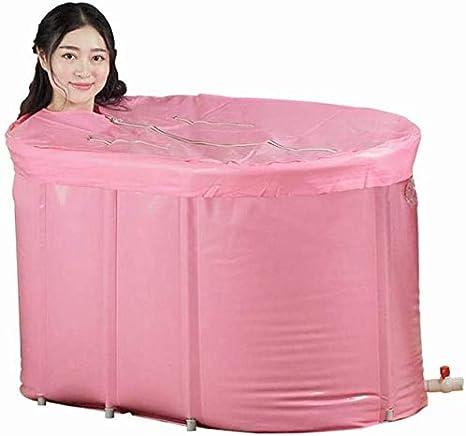 Lloow Bañeras inflables, Adulto de Aislamiento Inflable Gratuito bañera de hidromasaje Plegable de plástico Plegable bañera de hidromasaje, Conveniente, Rosa, 110 * 60 * 65 cm 2020
