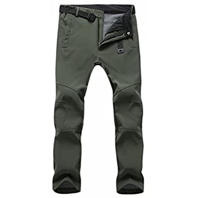 Cheap ONTBYB Mens Thicken Waterproof Straight Leg Classic Mountain Softshell Pants hot sale