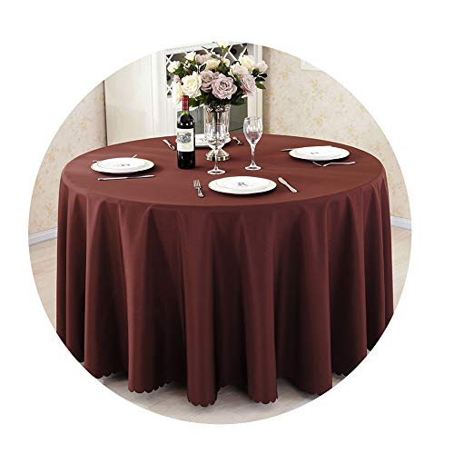 COOCOl Great Round Tablecloth Camping Table Cloth White Table Linen Hotel Party Wedding Tablecloth Dining Cover,Dark Brown,Round 160Cm Diameter -