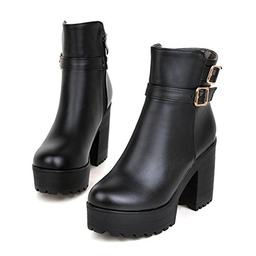 Agodor Womens Platform Block High Heel Ankle Boots With Zip Closed Toe Shoes With Buckle Black MWyTTJAA
