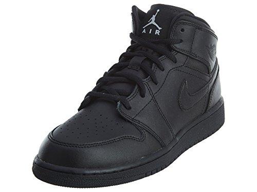 Jordan Nike Kids Air 1 Mid (GS) Black/White Basketball Shoe 4 Kids US