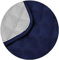 Cabetex Home - Cubre sofá Reversible Bicolor con ajustes - Microfibra Acolchada Antimanchas (Gris/Azul, 1 Plaza)