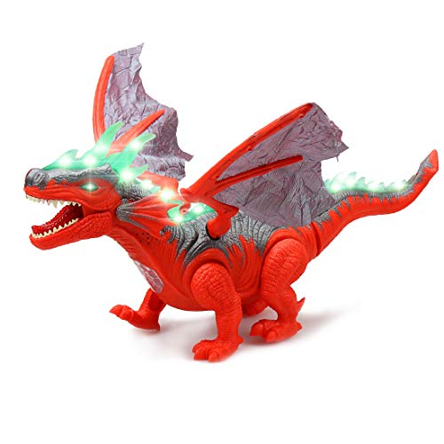 WonderPlay Walking Dinosaur Toy Swing Wings Figure with Lights and Sounds Realistic Triceratops Fiery Dragon Kids Toys Battery Operated (Red) -