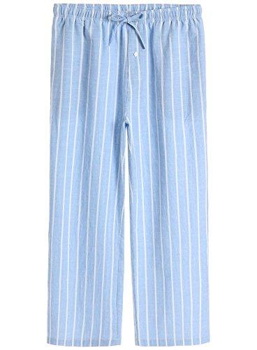 Cotton Lounge Pajama Pants M Light Blue (Man Striped Pajamas)