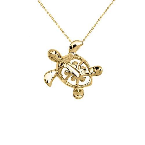 14k Yellow Gold Turtle Pendant (Dainty 14k Yellow Gold Hawaiian Lucky Charm Honu Turtle Pendant Necklace, 16