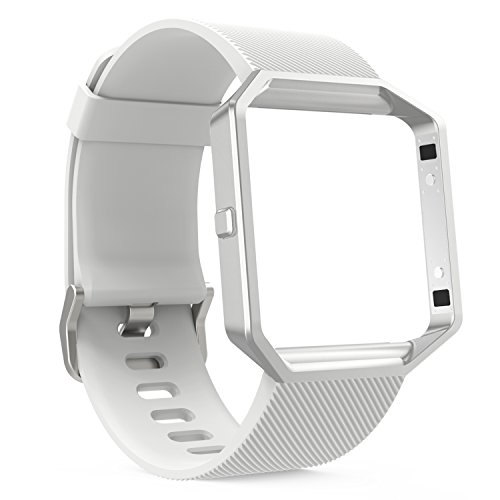 MoKo Fitbit Blaze Band, Metal Frame Housing + Soft Silicone Strap Adjustable Replacement Bracelet with Quick Release Pins for Fitbit Blaze Smart Watch, Wrist Length 5.71''-8.67'', Silver & White by MoKo