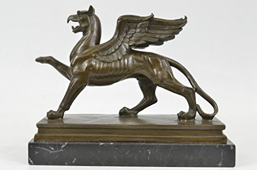 Handmade European Bronze Sculpture Griffin With Marble Base Bronze Statue -1X-XN-0742-Decor Collectible -