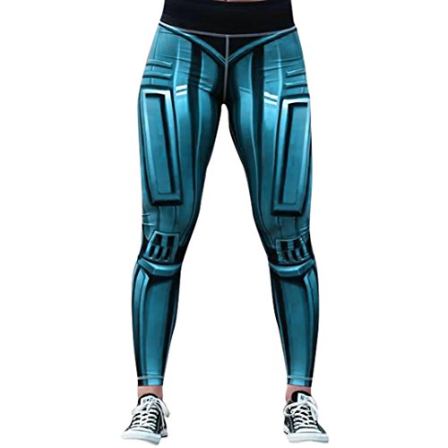 Gillberry Custom Robot Skeleton Stretchy Capri Leggings Skinny Pants for Yoga Running Pilates Gym (Blue, L)