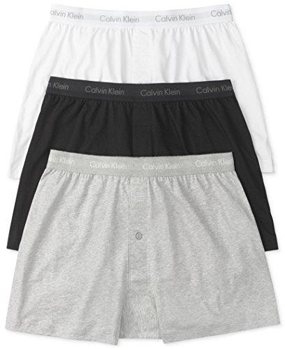 Calvin Klein Men's 3-Pack Cotton Classic Knit Boxer, White/Black/Grey, Small