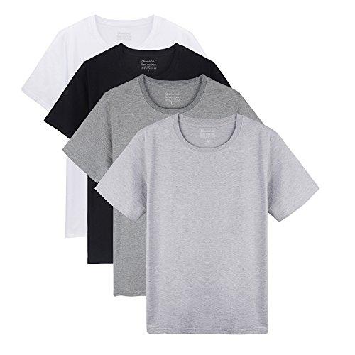 Yunicus Men's Short Sleeve Plain Cotton T-Shirts ( Pack of 4 ) Black/White/Light Steel/Dark Grey Large