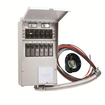 A506A Pro/Tran2 50-Amp 6-Circuit 2 Manual Transfer Switch with Optional Power Inlet