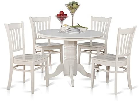 SHGR5-WHI-W 5 Pc small Kitchen Table and Chairs set-Round Table and 4 Kitchen Chairs