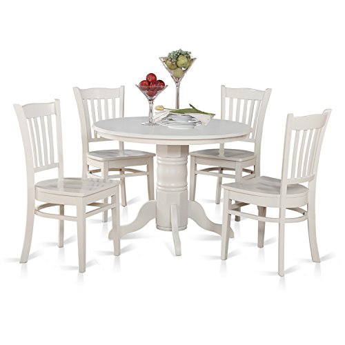 East West Furniture SHGR5-WHI-W 5-Piece Kitchen Table and Chairs Set, Linen White