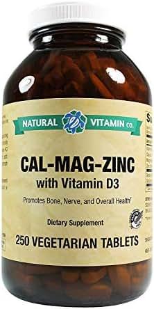 Natural Vitamin Co. - Cal-Mag-Zinc with Vitamin D3, Calcium 1000mg, Magnesium 500mg, Zinc 25mg, D3 200 IU, 250 Tablets, 4 Month Supply, Gluten Free, Vegetarian