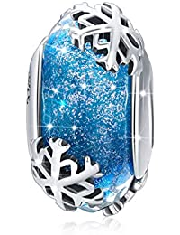 Snowflake Murano Glass Beads 925 Sterling Silver Christmas Winter Snowflake Charm Beads Fit Charm Bracelets & Bangles DIY Jewelry Making