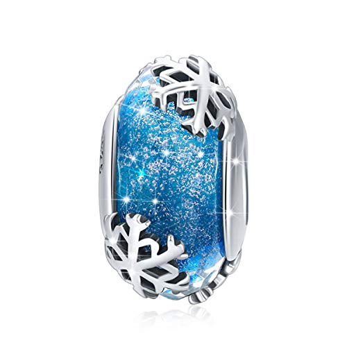LeeFeel S925 Sterling Silver Snowflake Murano Glass Beads Christmas Winter Snowflake Charm Beads Fit Charm Bracelets & Bangles DIY Jewelry Making