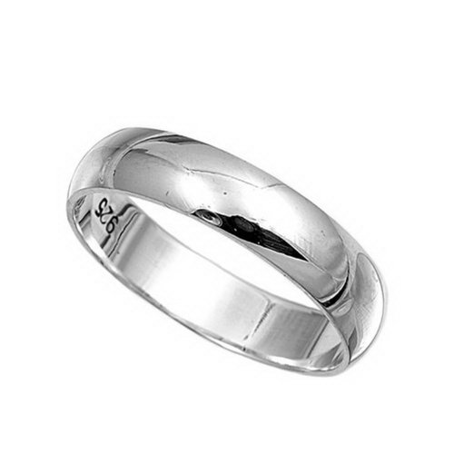 Sterling Silver Wedding Band/Ring - Width: 5mm - Size 8