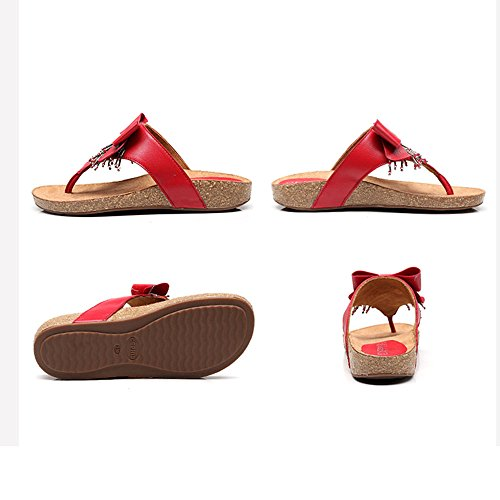 5 Female Summer Amazing Red Wedges Sandals color Beach uk5 Eu38 Red cn38 Seaside Size Slippers qOgwEwFn5x