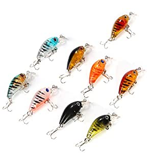 XCSOURCE 9pcs Plastic Fishing Lures Bass CrankBait Crank Bait Hooks Tackle OS306