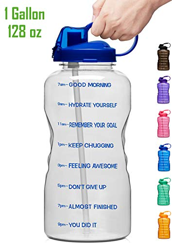 Giotto Large 1 Gallon/128oz Motivational Water Bottle with Time Marker & Straw, Leakproof Tritan BPA Free, Ensure You Drink Enough Water Daily for Fitness, Gym and Outdoor Sports-Clear Blue