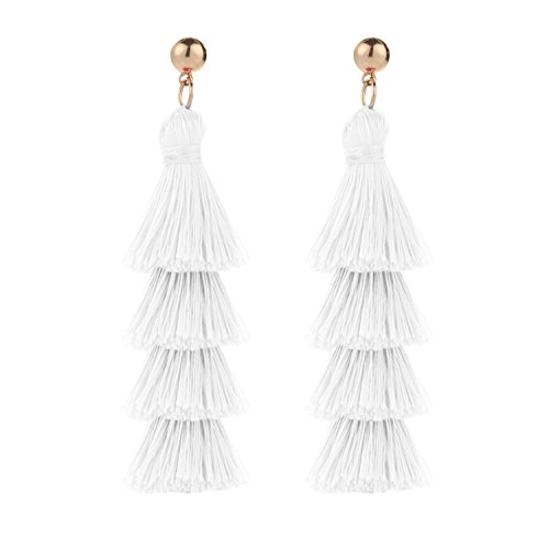 - BaubleStar Fashion Gold Tassel Dangle Earrings Layered Long Bonita Tiered Thread Tassel White Drop Statement Jewelry for Women Girls BAN0054W