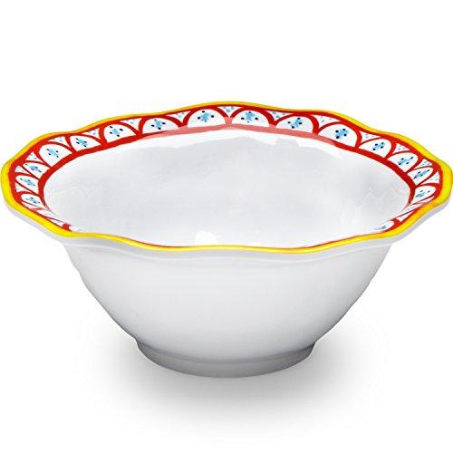 Q Squared Porto Chalé BPA-Free Melamine Dip Bowl, 5-Inches, Set of 4, White, Red, Yellow, Blue (Fiesta Round Chip Dip Tray)