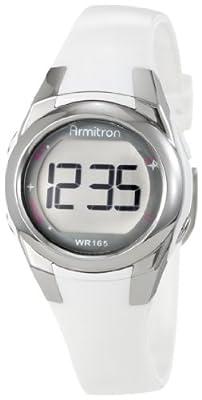 Armitron Women's 45/7021WHT Silver-Tone and White Sparkle Digital Sport Watch