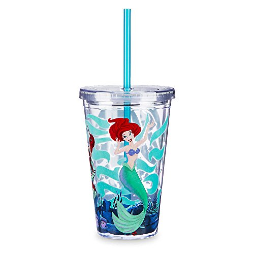 Disney Parks Ariel Voyage of the Little Mermaid Straw Tumbler Drink Cup