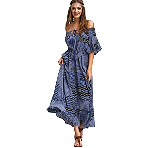 Milumia Women's Boho Off The Shoulder Swing Maxi Dress
