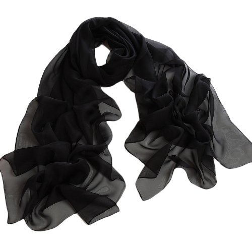 Chicastic Black Solid Colors Polyester Silk Chiffon Scarf Wrap Stole Shawl
