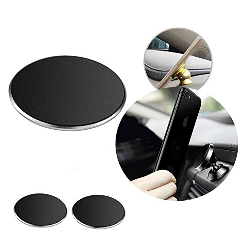 ZZoo Adhesive Metal Plate Mounting Kits Stickers Discs Magnetic Patch Compatible with Air Vent Magnetic Car/Vehicle Mount Holder Especially for iPhone 6S 7 7plus (2pack-Black)