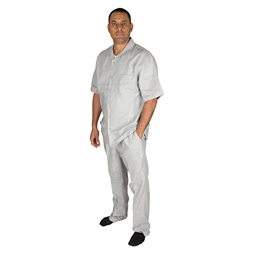 (Vittorino Men's 100% Linen 2 Piece Walking Set with Long Pants and Short Sleeve Shirt, Grey, Medium 34-33)