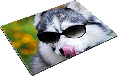 MSD Place Mat Non-Slip Natural Rubber Desk Pads design 21769850 Sunny summer meadow and husky with sunglasses looks like a teacher by MSD