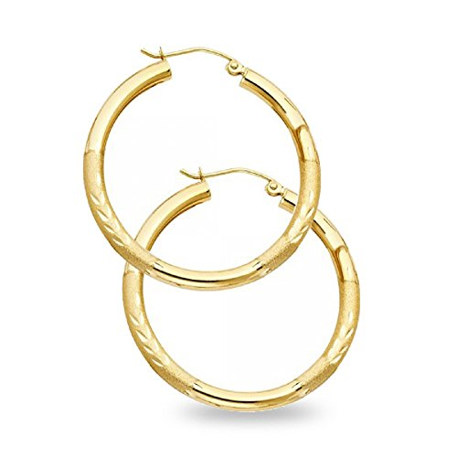 Diamond Cut Hoop Earrings Solid 14k Yellow Gold Round Classic Design Polished Finish 30 x 3 (14k Gold Large Hoop Earrings)