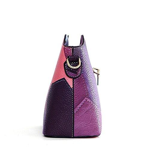 con Morado Bolso Mujer GMYAN de Púrpura Cuero Bolsos Cremallera Azul Gris para Amarillo gYqxOZ